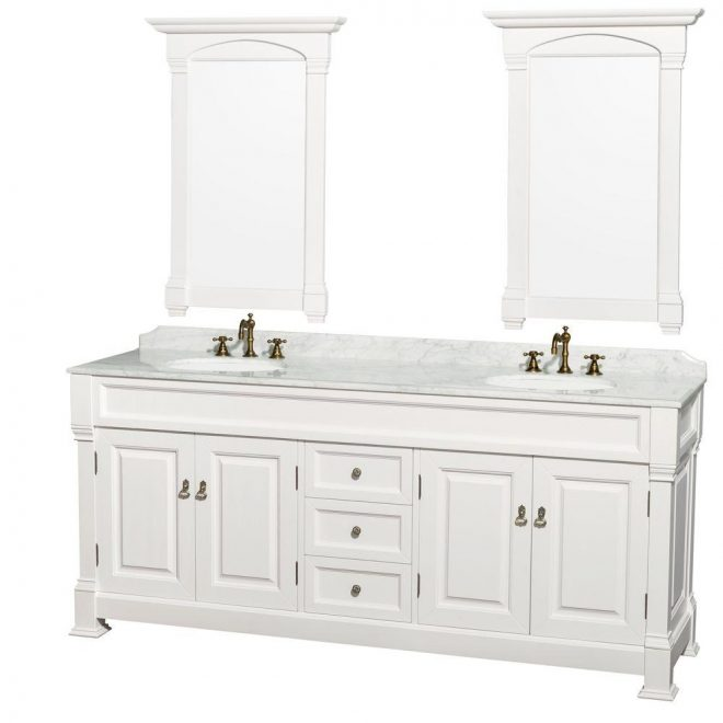 wyndham collection andover 80 in vanity in white with marble vanity