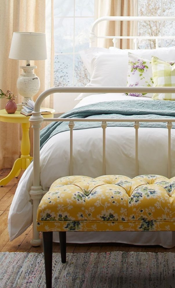 yellow blue and white farmhouse bedroom my future