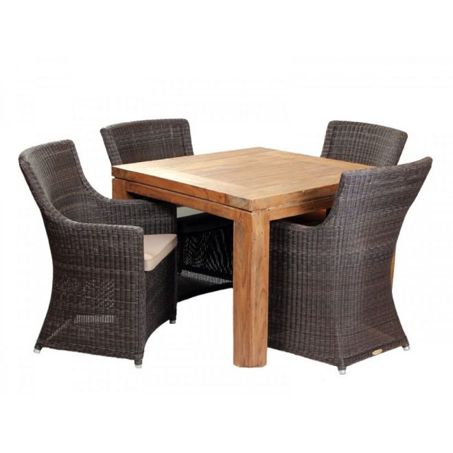 york 4 seater square dining set the table is made from reclaimed teak
