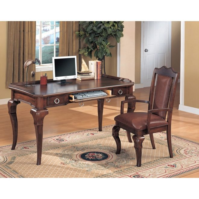 yuan tai mcmullen writing desk arm chair in dark cherry finish