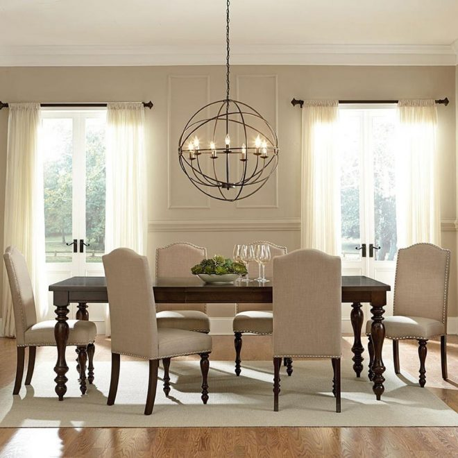 zachary 7 piece beige fabric upholstered dining set