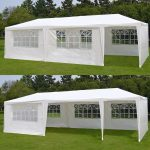 zeny 10x 30 white gazebo wedding party tent canopy with 6 windows 2 sidewalls 8 walmart
