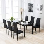 zimtown 7 pcs glass dining table set with 6 leather chairs kitchen room furniture black